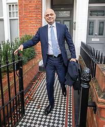 © Licensed to London News Pictures. 14/02/2020. London, UK. Sajid Javid leaves his home in West London this morning after resigning as Chancellor. The ex-chancellor resigned yesterday after a showdown with Prime Minister Boris Johnson and Dominic Cummings over the sacking of his aides. Photo credit: Alex Lentati/LNP