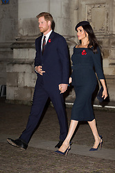 © Licensed to London News Pictures. 11/11/2018. London, UK. The Duke of Sussex and Meghan, Duchess Sussex  attend a Westminster Abbey Service to mark the Centenary of the Armistice ending World War I. Photo credit: Ray Tang/LNP
