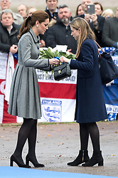 Catherine, Duchess of Cambridge visits a site near Leicester's King Power Stadium to pay tribute to Vichai Srivaddhanaprabha,  the chairman of Leicester City Football Club,  and the others who were tragically killed in the helicopter crash while leaving the Stadium.<br />November 28, 2018