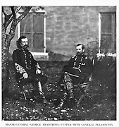 MAJOR-GENERAL GEORGE ARMSTRONG CUSTER WITH GENERAL Alfred PLEASONTON. This photograph was taken at Warrenton, Va., three months after that battle of Gettysburg. from the book ' The Civil war through the camera ' hundreds of vivid photographs actually taken in Civil war times, sixteen reproductions in color of famous war paintings. The new text history by Henry W. Elson. A. complete illustrated history of the Civil war