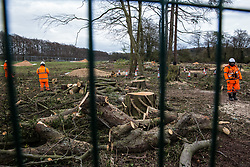 Wendover, UK. 9th April, 2021. HS2 contractors monitor a site alongside the A413 where trees are currently being felled for the HS2 high-speed rail link. Tree felling work for the project is now taking place at several locations between Great Missenden and Wendover in the Chilterns AONB, including at Jones Hill Wood.