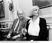 Kingsley Amis, and Lady Kilmarnock.A book launch at the Polish club 1991. film no91645f29 © Copyright Photograph by Dafydd Jones 66 Stockwell Park Rd. London SW9 0DA Tel 020 7733 0108 www.dafjones.com