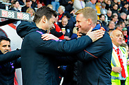 Tottenham Hotspur manager Mauricio Pochettino and AFC Bournemouth manager Eddie Howe greet each other before the Premier League match between Bournemouth and Tottenham Hotspur at the Vitality Stadium, Bournemouth, England on 4 May 2019.