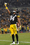 PITTSBURGH, PA - DECEMBER 6: Antonio Brown #84 of the Pittsburgh Steelers celebrates a third quarter touchdown during the game against the Indianapolis Colts at Heinz Field on December 6, 2015 in Pittsburgh, Pennsylvania. (Photo by Joe Sargent/Getty Images)
