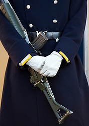 Detail of uniform of guard at Royal Palace in Gamla Stan Stockholm Sweden