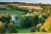 Naunton church, ancient monument in Cotswold rural landscape in Gloucestershire in The Cotswolds, UK
