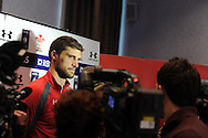 Wales player Luke Charteris speaks to the media  at the Wales rugby PC at the team hotel in Hensol, near Cardiff, South Wales on Wed 19th Feb 2014.<br /> pic by Andrew Orchard, Andrew Orchard sports photography.