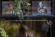 A tribute to Prince Philip, Duke Of Edinburgh who died at age 99 is left in a pub window near Windsor Castle on Sunday, April 11, 2021. The Queen announced the death of her beloved husband, His Royal Highness Prince Philip, Duke of Edinburgh who died at age 99. HRH passed away peacefully on April 9th at Windsor Castle. (Photo/ Vudi Xhymshiti)