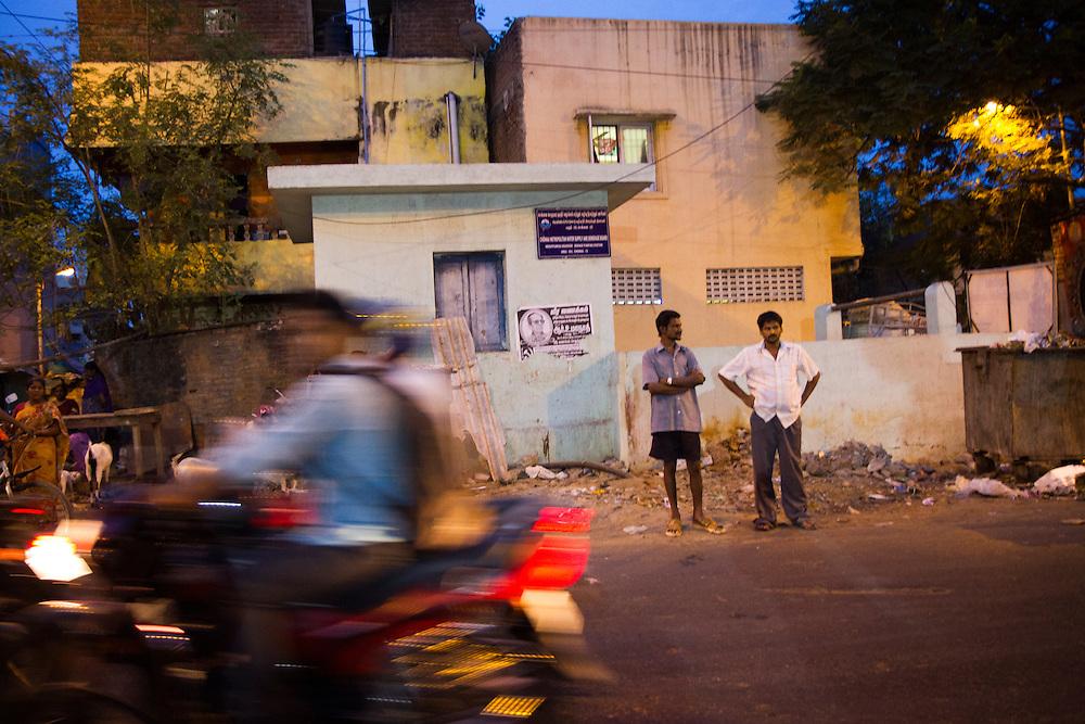 Outside a slum in Saidapet, Chennai, India.
