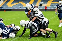London Blitz running back is tackled - Mandatory by-line: Jason Brown/JMP - 27/08/2016 - AMERICAN FOOTBALL - Sixways Stadium - Worcester, England - London Warriors v London Blitz - BAFA Britbowl Finals Day