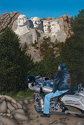 """Face 2 Face""<br /> Painting by Scott Jacobs 2009<br /> <br /> This official 69th Sturgis piece depicts Scotts father, Dallas, the first time he was face 2 face with Mt. Rushmore. Can you find the hidden reflection?"