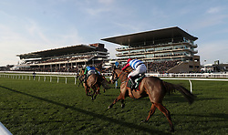 """I K Brunel ridden by A.P.Heskin in the British Stallion Studs EBF """"National Hunt"""" Novices' Hurdle during day one of the International Meeting at Cheltenham Racecourse."""