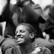 ..Alternating between despair and joy, inmate Rose D. Brown enjoys the gospel songs being sung by members of the Bill Glass Prison Ministry inside the Twin Towers Jail, part of the sprawling LA County Jail. The ministry sent hundreds of volunteers into the world's largest jail system for 48-hours to convince the convicts to become Christians.