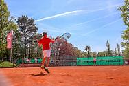Stefan Nicolaus (Grunewald Tennis-Club) - 2. Platz Herren 45, Känguruhs-Open 2018, Finaltag, Berlin, 22.04.2018, Foto: Claudio Gärtner