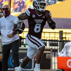 Sep 26, 2020; Baton Rouge, Louisiana, USA; Mississippi State Bulldogs wide receiver Garrett Shrader (6) runs after a catch for a touchdown against the LSU Tigers during the second half at Tiger Stadium. Mandatory Credit: Derick E. Hingle-USA TODAY Sports
