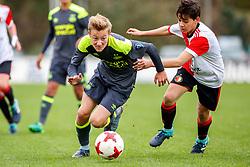 28-10-2017: Voetbal: Onder 15 Feyenoord v PSV: Rotterdam<br /> <br /> L-R Martijn Zuijderwijk (PSV), Max Christoffel (Feyenoord)<br /> <br /> Jeugd Onder 15 Eredivisie<br /> Seizoen 2017-2018