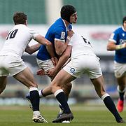 Londra 13/02/2021, Twickenham Stadium<br /> Guinness Six Nations 2021<br /> Inghilterra vs Italia <br /> Carlo Canna placcato da Owen Farrell
