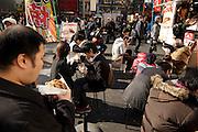 outdoors Western hamburger style food stand in Akihabara Tokyo