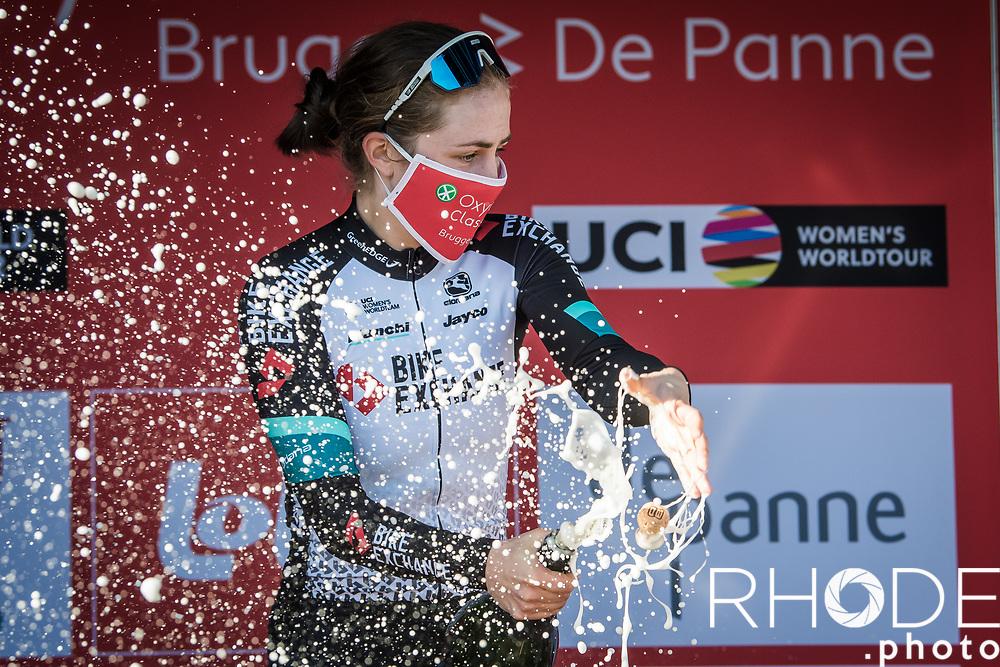 podium with race winner Grace Brown (AUS/BikeExchange) <br /> <br /> Oxyclean Classic Brugge-De Panne 2021 (WE/1.WWT) - Belgium<br /> 1 day race from Brugge to De Panne (159km)<br /> <br /> ©RhodePhoto