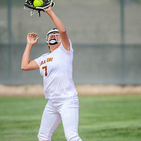 Tohatchi Cougar Cameron Tsosie (7) catches a Rehoboth Lynx fly ball at Tohatchi High School Tuesday.