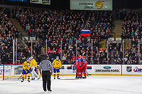 KELOWNA, BC - DECEMBER 18:  Team Russia celebrates a goal against Team Sweden at Prospera Place on December 18, 2018 in Kelowna, Canada. (Photo by Marissa Baecker/Getty Images)***Local Caption***