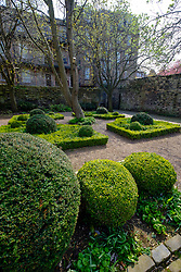 View of Dunbar's Close Garden off Canongate in Edinburgh Old Town, Scotland, United Kingdom