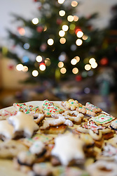 Close-up of gingerbread Christmas cookies in plate with Christmas tree in the background, Bavaria, Germany