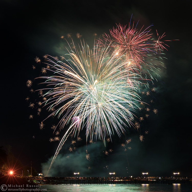 A fireworks display above the White Rock Pier during the Canada 150 celebrations in White Rock, British Columbia, Canada.