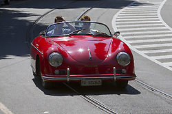 June 10, 2017 - Italy - A Porsche 1600 Speedster driven by actor Alessandro Borghi (right). Vintage cars and sportscar on exhibition in Torino during Parco Valentino car show. (Credit Image: © Marco Destefanis/Pacific Press via ZUMA Wire)