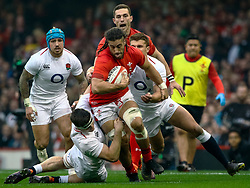 Justin Tipuric of Wales under pressure from Tom Curry of England<br /> <br /> Photographer Simon King/Replay Images<br /> <br /> Six Nations Round 3 - Wales v England - Saturday 23rd February 2019 - Principality Stadium - Cardiff<br /> <br /> World Copyright © Replay Images . All rights reserved. info@replayimages.co.uk - http://replayimages.co.uk