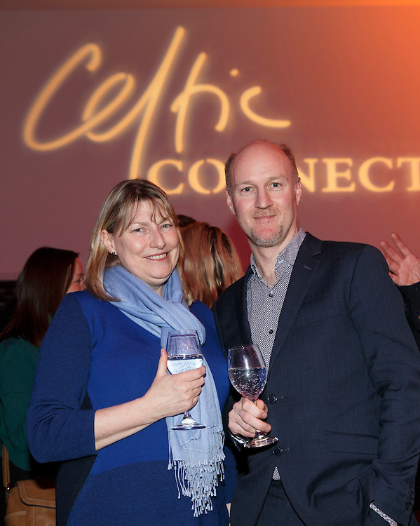 Celtic Connections Civic reception at Royal Concert Hall. L to R :  Bridget McConnell CEO of Glasgow Life and Donald Shaw, Artistic Director for Celtic Connections. Picture Robert Perry for The Herald and  Evening Times 14th Jan 2016<br /> <br /> Must credit photo to Robert Perry<br /> FEE PAYABLE FOR REPRO USE<br /> FEE PAYABLE FOR ALL INTERNET USE<br /> www.robertperry.co.uk<br /> NB -This image is not to be distributed without the prior consent of the copyright holder.<br /> in using this image you agree to abide by terms and conditions as stated in this caption.<br /> All monies payable to Robert Perry<br /> <br /> (PLEASE DO NOT REMOVE THIS CAPTION)<br /> This image is intended for Editorial use (e.g. news). Any commercial or promotional use requires additional clearance. <br /> Copyright 2014 All rights protected.<br /> first use only<br /> contact details<br /> Robert Perry     <br /> 07702 631 477<br /> robertperryphotos@gmail.com<br /> no internet usage without prior consent.         <br /> Robert Perry reserves the right to pursue unauthorised use of this image . If you violate my intellectual property you may be liable for  damages, loss of income, and profits you derive from the use of this image.