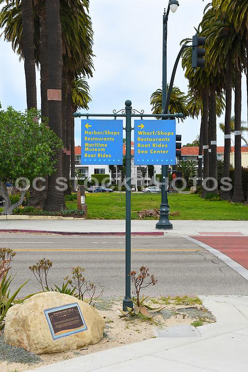 Directional Signs Along Cabrillo Boulevard at Syuxtun Story Circle Santa Barbara