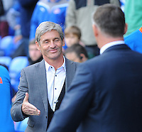 Blackpool manager José Riga shakes hands with Reading manager Nigel Adkins before kick-off<br /> <br /> Photographer Kevin Barnes/CameraSport<br /> <br /> Football - The Football League Sky Bet Championship - Reading v Blackpool - Saturday 25th October 2014 - Madejski Stadium - Reading <br /> <br /> © CameraSport - 43 Linden Ave. Countesthorpe. Leicester. England. LE8 5PG - Tel: +44 (0) 116 277 4147 - admin@camerasport.com - www.camerasport.com