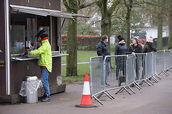 © Licensed to London News Pictures 15/01/2021.         Greenwich, UK. People at the Park View Coffee Cabin in Greenwich park, London during a third national Coronavirus lockdown. Photo credit:Grant Falvey/LNP