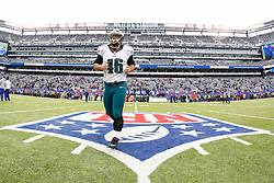 Philadelphia Eagles long snapper Jon Dorenbos #46 jogs off the field after warm ups before the NFL game between the Philadelphia Eagles and the New York Giants at MetLife Stadium in East Rutherford, New Jersey on Sunday, December 24th 2014. The Eagles won 34-26. (Brian Garfinkel/Philadelphia Eagles)