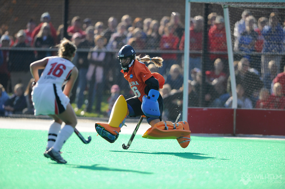 21 NOV 2010:  The University of Maryland plays the University of North Carolina during the 2010 NCAA Women's Division I Field Hockey Championship held on the campus of the University of Maryland in College Park, MD. Maryland defeated North Carolina 3-2 in double overtime to win the national title. © Brett Wilhelm