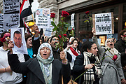 Protesters march through central London to demonstrate against President Mubarak and his regime in Egypt. The protest was peaceful and very vocal. Tears were shed at stories told by some of he leading protesters as images of death in the streets of their countrymen were shown.