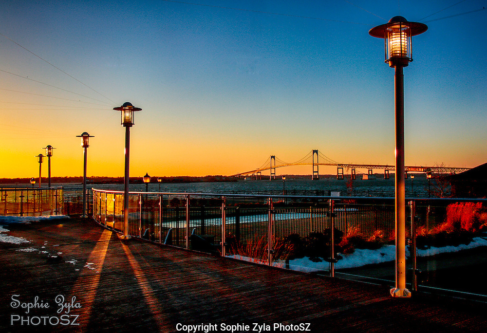 Newport sunset from Hyatt with Claiborne Pell Newport Bridge