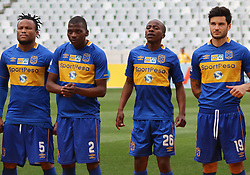 Cape Town City players Dove Edmilson, Thamsanqa Mkhize, Thabo Nodada and Roland Putsche against Polokwane City in an MTN8 quarter-final match at the Cape Town Stadium on August 12, 2017 in Cape Town, South Africa.