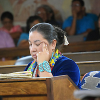 Navajo Nation Council Delegate Amber Kanazbah Crotty listens to her colleagues discuss legislation to allocate $1.2 million to Navajo veterans during the Council summer session Wednesday in Window Rock, Arizona.