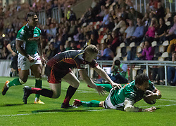 Benetton Treviso's Alessandro Zanni scores his sides third try<br /> <br /> Photographer Simon King/Replay Images<br /> <br /> 1 Round 1 - Dragons v Benetton Treviso - Saturday 1st September 2018 - Rodney Parade - Newport<br /> <br /> World Copyright © Replay Images . All rights reserved. info@replayimages.co.uk - http://replayimages.co.uk