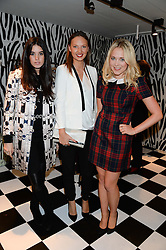 Left to right, GALA GORDON, HANNAH RANKINE and POPPY JAMIE at the Mother Of Pearl, Polly Morgan & Sunday Times Style Hosted London Fashion Week Pop-Up Shop at The Shop at Bluebird, Kings Road, London on 12th September 2013.