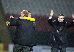 Falkirk's Lyle Taylor celebrates at the end of the match..Airdrie United 1 v 4 Falkirk, 22/12/2012..©Michael Schofield.