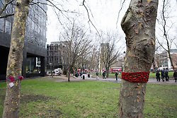 London, UK. 13th January, 2018. Trees in Euston Square Gardens are wrapped with hand-knitted scarves, many of which bear messages referring to arboricide. Activists opposed to the HS2 high-speed rail link have 'yarn-bombed' many of the mature London Plane, Red Oak, Common Whitebeam, Common Lime and Wild Service trees in Euston Square Gardens expected to be felled to make way for temporary sites for construction vehicles and a displaced taxi rank as part of preparations for the controversial HS2 project in order to draw attention to their fate.