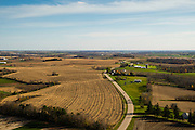 Aerial photograph of harvested fields in rural, southwest Wisconsin.