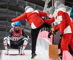 11.02.2018, Olympic Sliding Centre, Pyeongchang, KOR, PyeongChang 2018, Rodeln, Herren, 4. Lauf, im Bild David Gleirscher (AUT, 1. Platz und Goldmedaillengewinner) // gold medalist and Olympic champion David Gleirscher of Austria during the Men's Luge Singles Run 4 competition at the Olympic Sliding Centre in Pyeongchang, South Korea on 2018/02/11. EXPA Pictures © 2018, PhotoCredit: EXPA/ Johann Groder