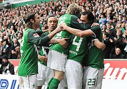 30.10.2010, Weserstadion, Bremen, GER, 1. FBL, Werder Bremen vs 1. FC Nürnberg / Nuernberg, im Bild Torsten Frings (Bremen #22), Mikaël Silvestre (Bremen #16), Marko Marin (Bremen #10), Claudio Pizarro (Bremen #24) und Hugo Almeida (Bremen #23) jubeln ueber das Tor   EXPA Pictures © 2010, PhotoCredit: EXPA/ nph/  Frisch+++++ ATTENTION - OUT OF GER +++++