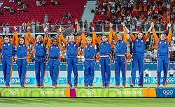 27-08-2004 GRE: Olympic Games day 14, Athens<br /> Hockey finale vrouwen Nederland - Duitsland 1-2 / Clarinda Sinnige #1, Mijntje Donners #10, Lisanne de Roever #2, Macha van der Vaart #3, Fatima Moreira de Melo #4, Jiske Snoeks #5, Maartje Scheepstra #6, Miek van Geenhuizen #7, Sylvia Karres #9, Ageeth Boomgaardt #11