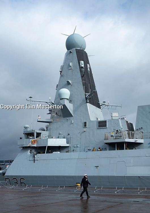 24 March, 2109, Glasgow, Scotland, UK. HMS Defender Type 45 Destroyer berthed at dock in Govan during visit to Glasgow, Scotland, UK