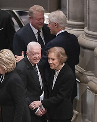 Top: former United States Vice President Al Gore and former US President Bill Clinton and Bottom: former United States President Jimmy Carter and former first lady Rosalynn Carter prior to the National funeral service in honor of the late former US President George H.W. Bush at the Washington National Cathedral in Washington, DC on Wednesday, December 5, 2018.<br /> Photo by Ron Sachs / CNP/ABACAPRESS.COM